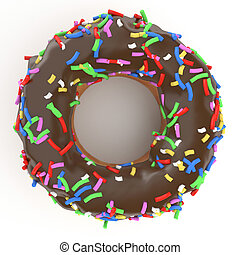 isolated chocolate donut - isolated glazed donut or doughnut...