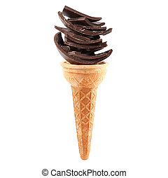 isolated chocolate ice cream in white background