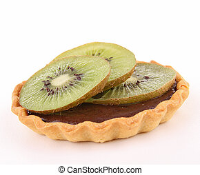 isolated chocolate tart and kiwi