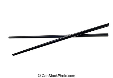 isolated chop sticks - black chop sticks isolated on a white...