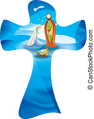 Isolated Christian cross whit vector nativity scene....