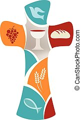 Isolated christian cross with dov, grape, chalice, bread, ears of wheat and fish on colorful background