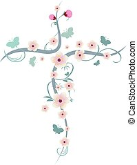Isolated christian cross with flower and butterflies -...