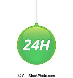 Isolated christmas ball with the text 24H