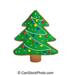 Isolated Christmas Cookie Food. Green Gingerbread Xmas Tree on White Background