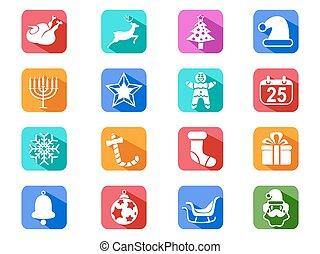 Christmas mobile long shadow icons set