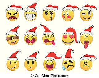 Christmas smiley face icons set
