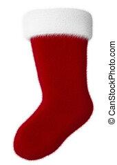 Isolated Christmas Stocking - Festive holiday stocking...