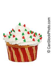 Isolated christmas tree cupcake