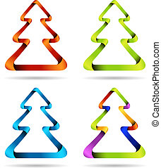 Isolated Christmas trees