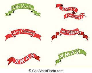 christmas vintage banner set