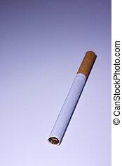 Isolated Cigarette Under Blue Light