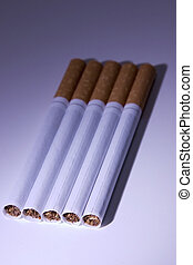 Isolated Cigarettes Under Blue Light