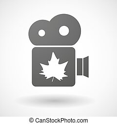 Isolated cinema camera icon with an autumn leaf tree