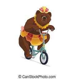 Isolated circus bear in skirt riding on bicycle