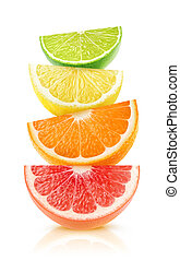 Isolated citrus fruits wedges