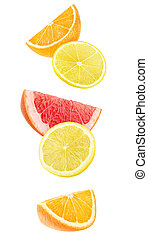 Isolated citrus pieces