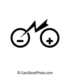 Isolated city electric bike symbol icon. Trekking e-bike line silhouette with electricity flash lighting thunderbolt sign. Designation of Parking Charge the battery