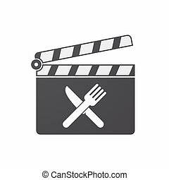 Isolated clapper board with a knife and a fork