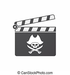 Isolated clapper board with a pirate skull