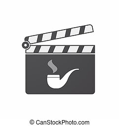 Isolated clapper board with a smoking pipe
