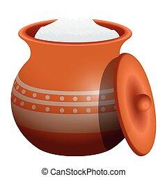 Isolated clay pot. Haadmade potter - Vector illustration