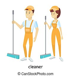 Isolated cleaners couple.