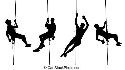 isolated climbing silhouettes