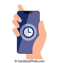 Isolated clock inside smartphone vector design