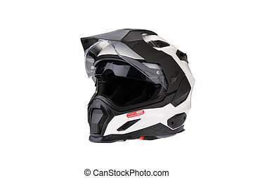 Isolated Close Full face Motorcycle white helmet.