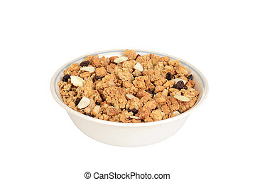 closeup bowl of granola raisin almond cereal