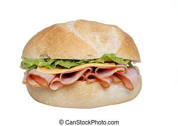 Closeup ham cheese lettuce sandwich - isolated Closeup ham ...