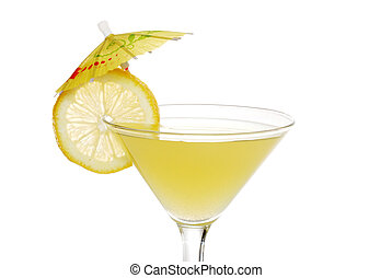 closeup of a lemon martini