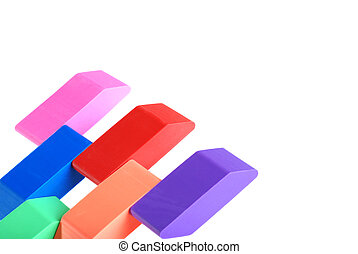 closeup of erasers
