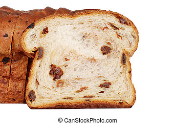closeup slice of raisin bread