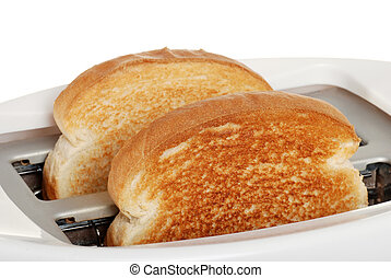 isolated closeup toast in toaster