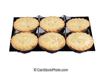 closeup tray of christmas mincemeat pies
