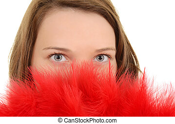 Closeup woman with red feather fan