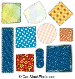 Isolated Cloth Patch. Textile Fabric Patches