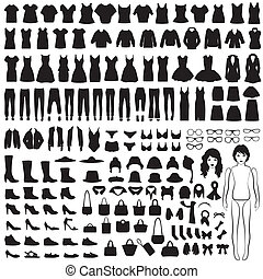 isolated clothing silhouette - vector collection of woman...