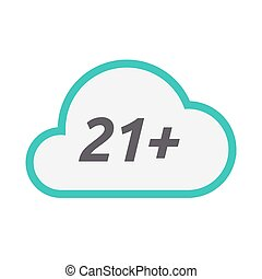 Isolated cloud icon with the text 21+