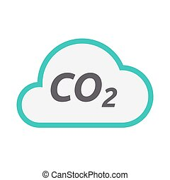 Isolated cloud icon with    the text CO2