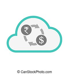 Isolated cloud with  a rupee and dollar exchange sign