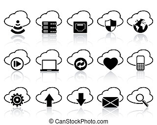 cloud with icons set