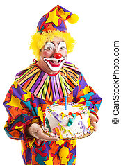 Isolated Clown with Birthday Cake