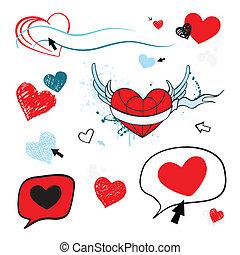 isolated., coeur, love., illustration