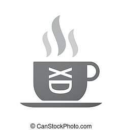 Isolated coffee cup icon with a laughing text face