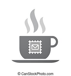 Isolated coffee cup icon with  a mail stamp sign