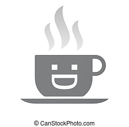 Isolated coffee cup with a laughing text face