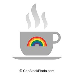 Isolated coffee cup with a rainbow